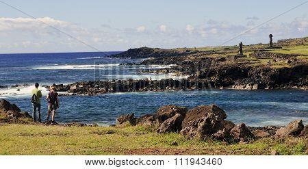 Hanga Roa, Ester Island, Chile - November 8, 2015: Tourists In H