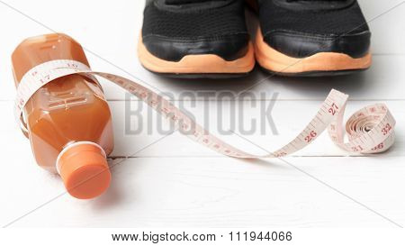 Running Shoes,orange Juice And Phone