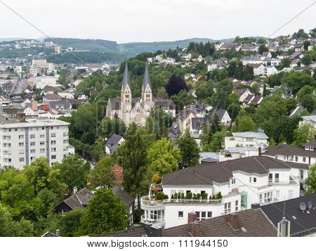 Aerial view of Siegen, city in Germany