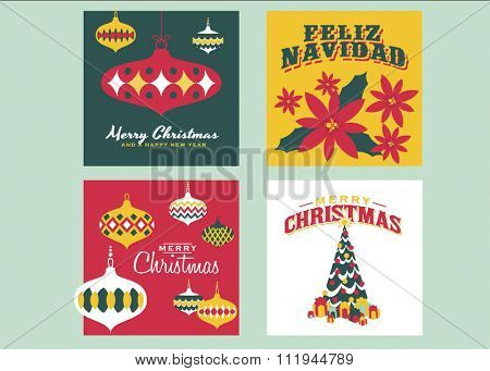 Christmas Cards templates / Collection of 4 vintage christmas cards. Each card consists of EPS vector file