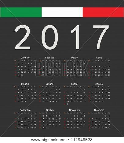 Square Black Italian 2017 Year Vector Calendar