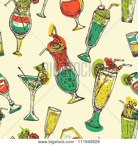 Seamless pattern with vintage cocktails. Cocktail party. Retro colorful vector illustration.