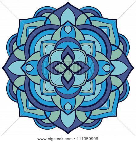 Mandala In Blue Tones.