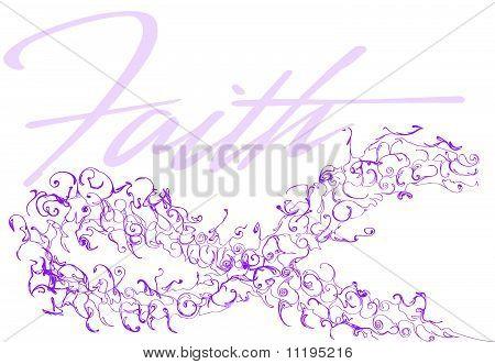 Purple Cancer Awareness Ribbon