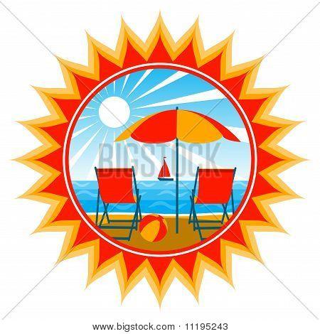 Deckchairs On Beach In Sun