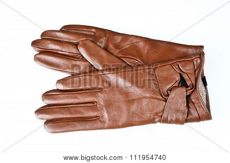 Womens Brown Leather Gloves Isolated On White
