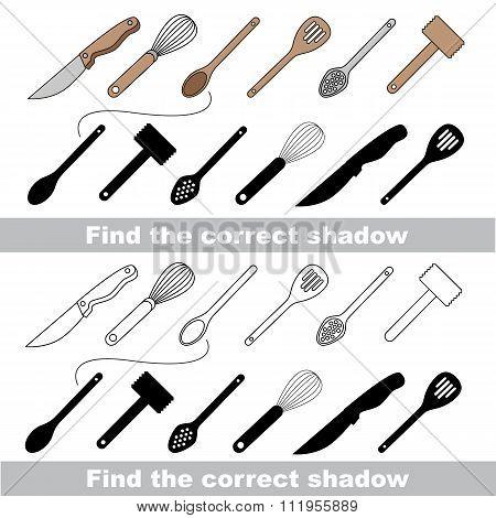 Utensils set. Find correct shadow.