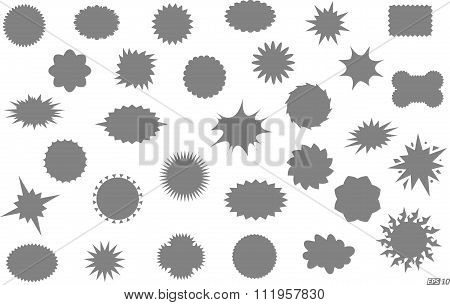 Star bursts or Sticky Stars or Badge, Sale Design or Icon Black