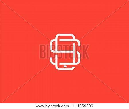Letter S logo design. Smartphone lined symbol. Mobile phone creative sign. Phablet, Tablet PC, gadge