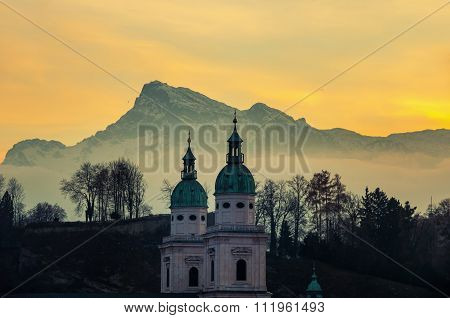 View Of Salzburg, Austria At Sunset