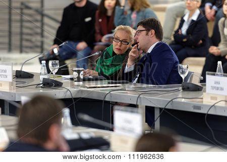 ST. PETERSBURG, RUSSIA - DECEMBER 13, 2015: Director of Multimedia Art Museum Olga Sviblova (left) and executive director of Moscow Museum of Contemporary Art Vasily Tsereteli during Cultural Forum