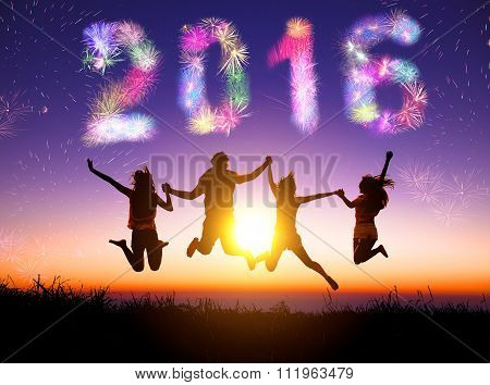 Young Group Watching Fireworks And Happy New Year 2016 Concept