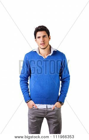 Smiling young man with wool sweater on white background