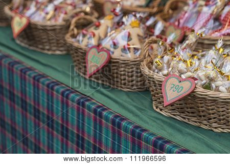 Gingerbread Hearts In Wicked Basket At Budapest Christmas Market.
