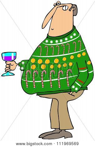 Man wearing an ugly Christmas sweater