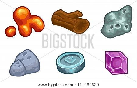 Resources For Games Icons Vector Set