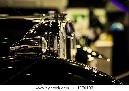 Zoom Headlight Of Classic Car In Car Show Event , Process In Vintage Style