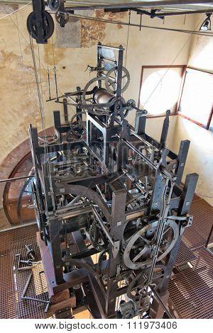 VENICE, ITALY - 17 OCTOBER 2015: Clockwork mechanism inside Torre dell'Orologio (St Mark's Clocktower) in Venice, Italy, October 17 2015.