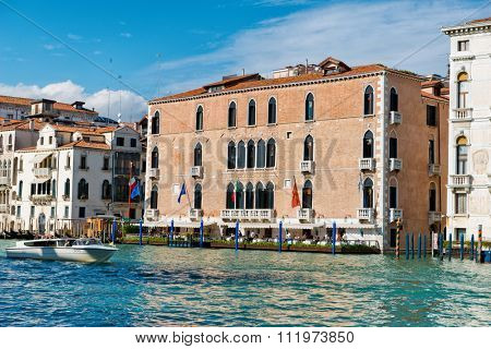 VENICE, ITALY - 17 OCTOBER 2015: Exterior facade of the five star Gritti Hotel, Venice, Italy in a 15th century palazzo overlooking the Grand Canal. Venice, Italy on 17 October 2015.