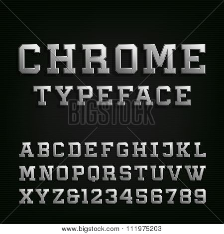 Beveled Chrome Alphabet Vector Font.