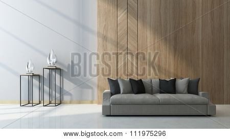 Modern living room with wood paneling as a feature on the wall behind a comfortable generic couch with two sculptures on tables alongside in a shaft of sunlight. 3d Rendering.