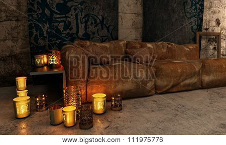 Cozy Luxury Home Interior Furnished with Plush Brown Sofa and Illuminated with Warm Candlelight from Various Holders Scattered on Table and Floor