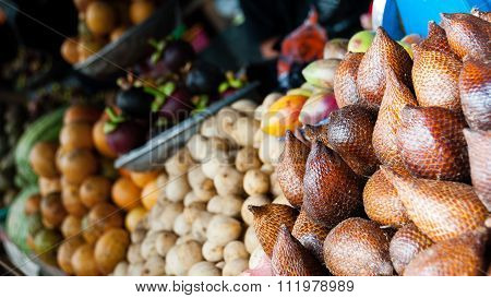 Different Kinds Of exotic Fruits For Sale at a local market in Indonesia