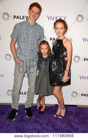 LOS ANGELES - DEC 14:  Niall Cunningham, Giselle Eisenberg, Holly J. Barrett at the An Evening with
