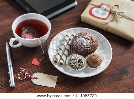 Tea Cup With A Homemade Tea Bag, Sweets - Cake, Cookies And Homemade Candy, Homemade Valentine's Day