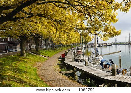 Autumn Colors In The Harbor of Enkhuizen, The Netherlands