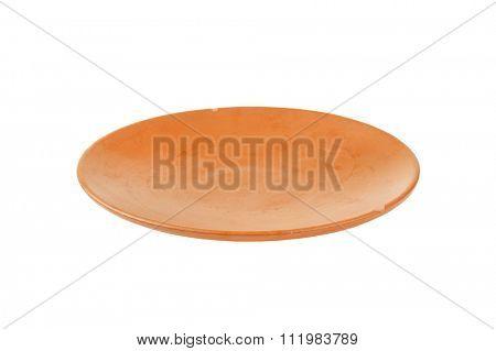 Single empty terracotta dinner plate