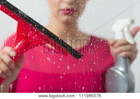 Girl With Window Cleaning Equipment