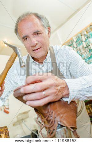 cobbler using hammer