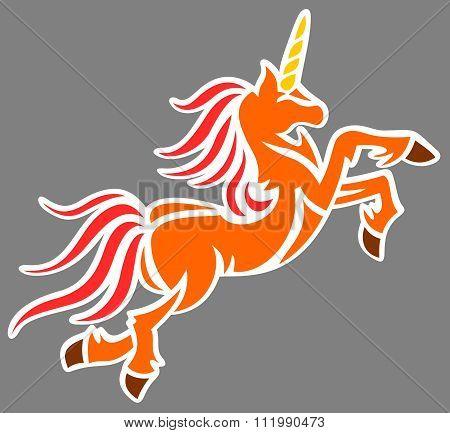 colored unicorn art vector illustration