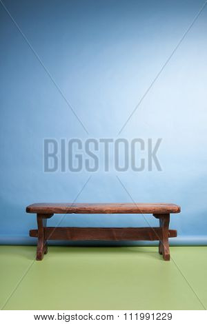 wooden bench on a photo studio set