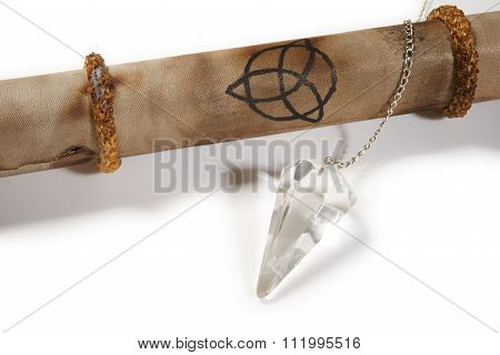 Old Parchment With Crystal Pendulum