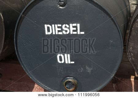 large black metal oil drum
