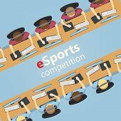 eSports 5v5 match, team versus team, vector illustration poster