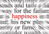 blurred text with a focus on happiness poster