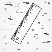 Ruler thin line design.Ruler pen Icon. Ruler Icon Vector. Ruler Icon Drawing.Ruler pen Icon Image.Ruler penl Icon GraphicRuler pen Icon Art. Think line icon. poster