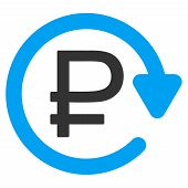 Rouble Recurring Payment vector icon. Style is bicolor flat symbol, blue and gray colors, rounded angles, white background. poster