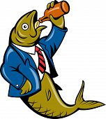 illustration of a cartoon Herring fish business suit drinking beer bottle isolated on white poster