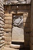Inca Gate Or Door Detail At Machu Picchu