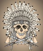 Hand drawn vector illustration of Native American Indian headdress with human skull and two tomahawks in sketch style. Traditional tribal chief feather hat and skull poster