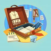 Open business briefcase with retro cartoon businessman suit and working items vector illustration poster
