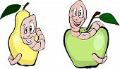 Two cheerful worms with an apple and a pear. poster