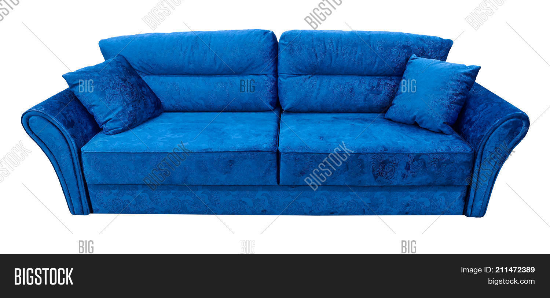 Blue Sofa Soft Velour Image Photo Free Trial Bigstock