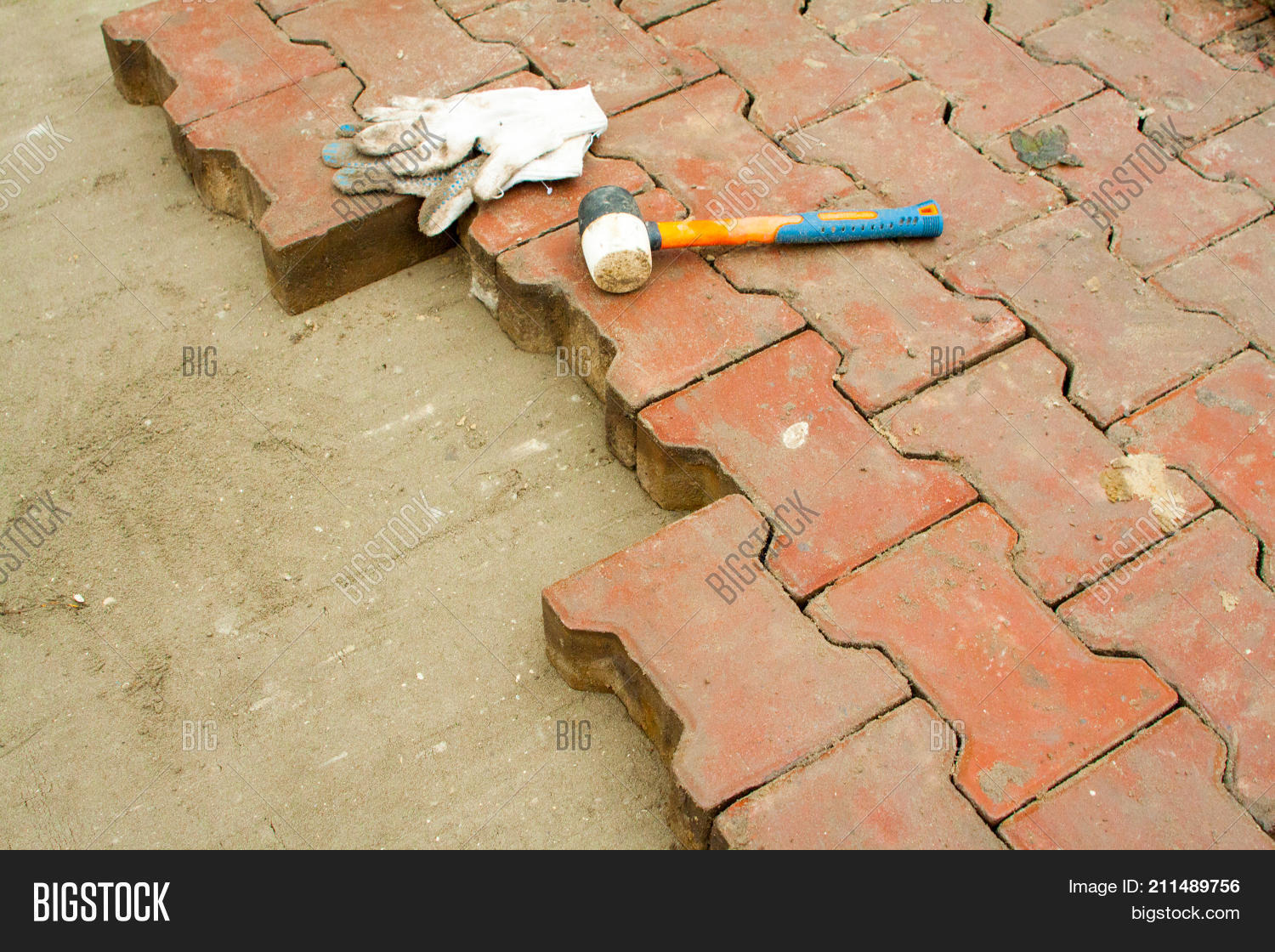 Laying Paving Slabs By Mosaic Close Up Repairing Sidewalk Workers Stone