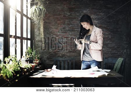 Businesswoman Secretary Using Mobile Phone Concept