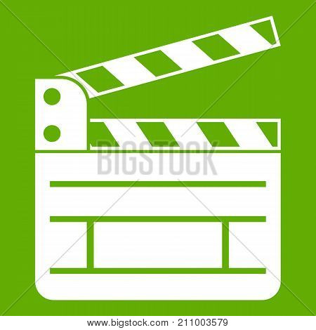 Clapperboard icon white isolated on green background. Vector illustration
